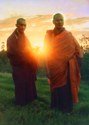 Lama Zopa Rinpoche and Lama Yeshe at Lawudo